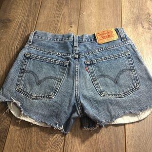Levi distress denim jean shorts